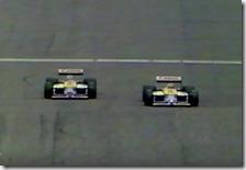 Nigel Mansell supera Nelson Piquet nel gran premio di Gran Bretagna 1987