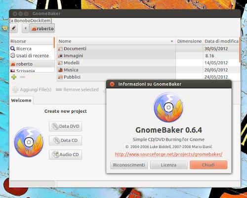 GnomeBaker 0.6.4 su Ubuntu 12.04