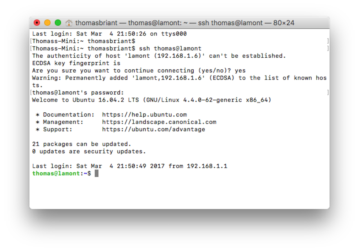 MacOS Terminal logging into Ubuntu
