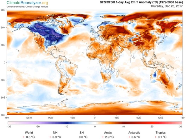 Global near-surface temperatures on 28 December 2017, as generated by the Climate Reanalyzer online software tool. Graphic: Forbes / Climate Reanalyzer
