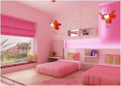 kamar anak warna pink
