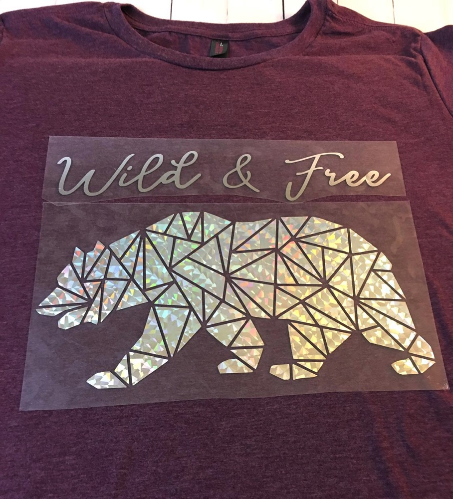 California bear silhouette with HTV on shirt