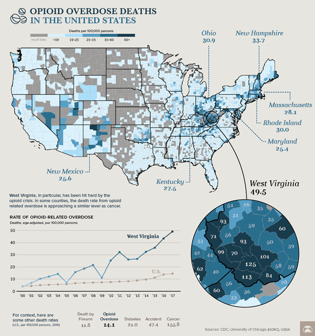 Map of opioid overdose deaths in the U.S., 2000-2017. Graphic: Visual Capitalist