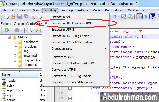 Encoding UTF-8 without BOM