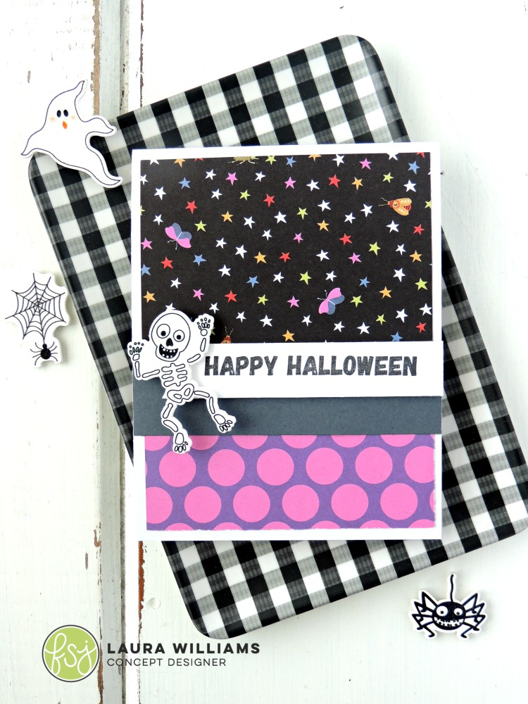 a simple way to create a card with fun patterned papers - dig through your stash, because you might have just the right prints for a Halloween card, even if they aren't technically Halloween papers. Look for polka dots, stripes, and gingham in oranges, greens, or purples and see what you can mix and match! This is a simple card layout for any time of year - just change up the papers and sentiment and make cards for every occasion!