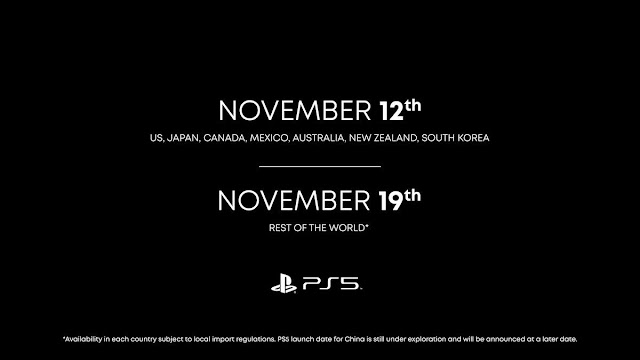 Official PS5 release dates, US and Rest of the world