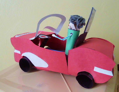 Side View of Construction Paper Car and Dude