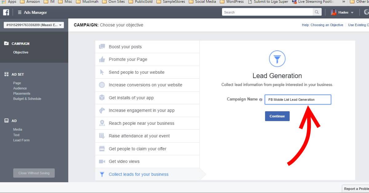 Facebook Ads Campaign Name
