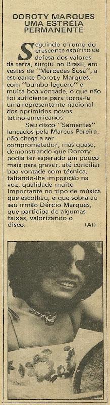 Doroty Marques, Uma estréia permanente - Música 1979-09