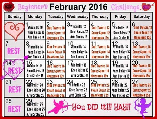 February Fitness Challenge Beginner's Workout Calendar