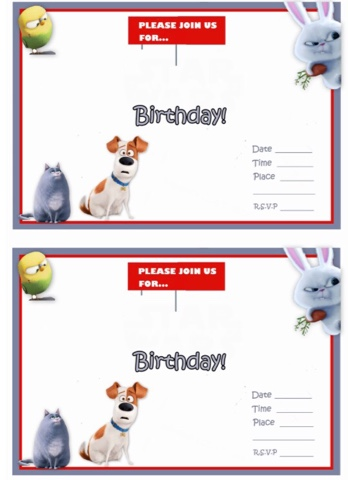 Secret Life of Pets Free Printable Party Invites