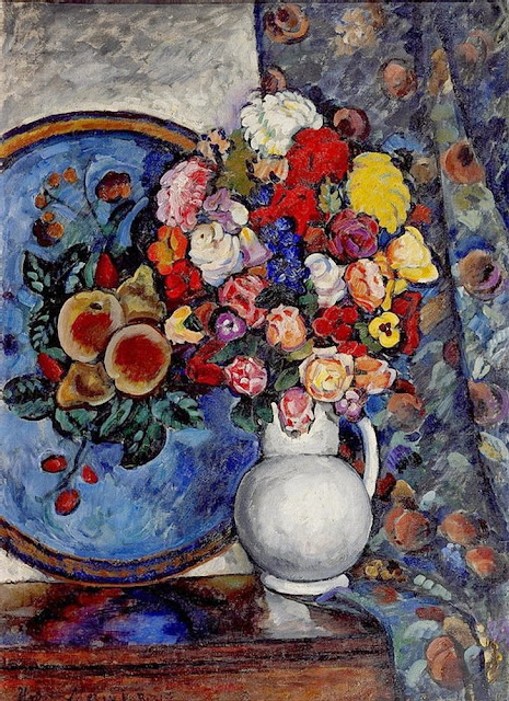 Ilya Mashkov - Still Life. Flowers in a Vase (with tray)