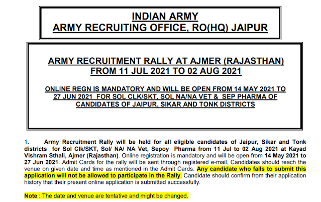 Indian Army Rally Recruitment - ARO Alwar Rally - Soldier Vacancies - Last Date: 27th June 2021