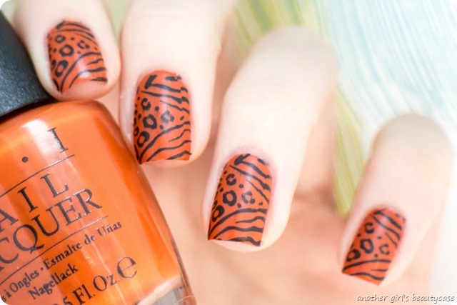 LFB Orange OPI It's a Piazza Cake Tiger Leopard Stamping_-6