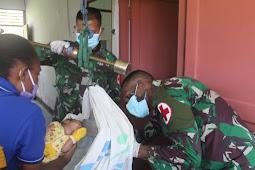Galang Puskesmas Arsotami, Satgas Yonif 403/WP Kembali Menggelar Pelayanan Posyandu di Wilayah Perbatasan RI-PNG