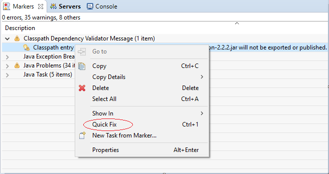 Eclipse Classpath Entry Quick Fix