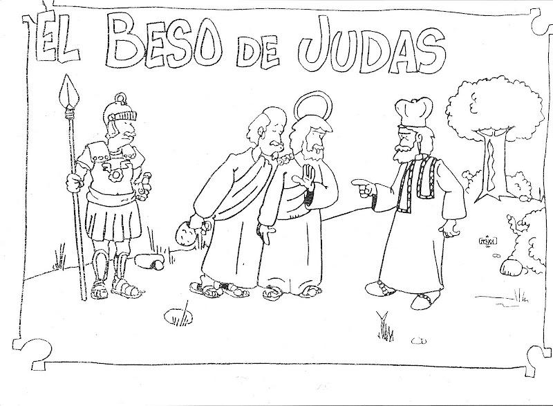 Dibujos Católicos : El beso de judas para colorear