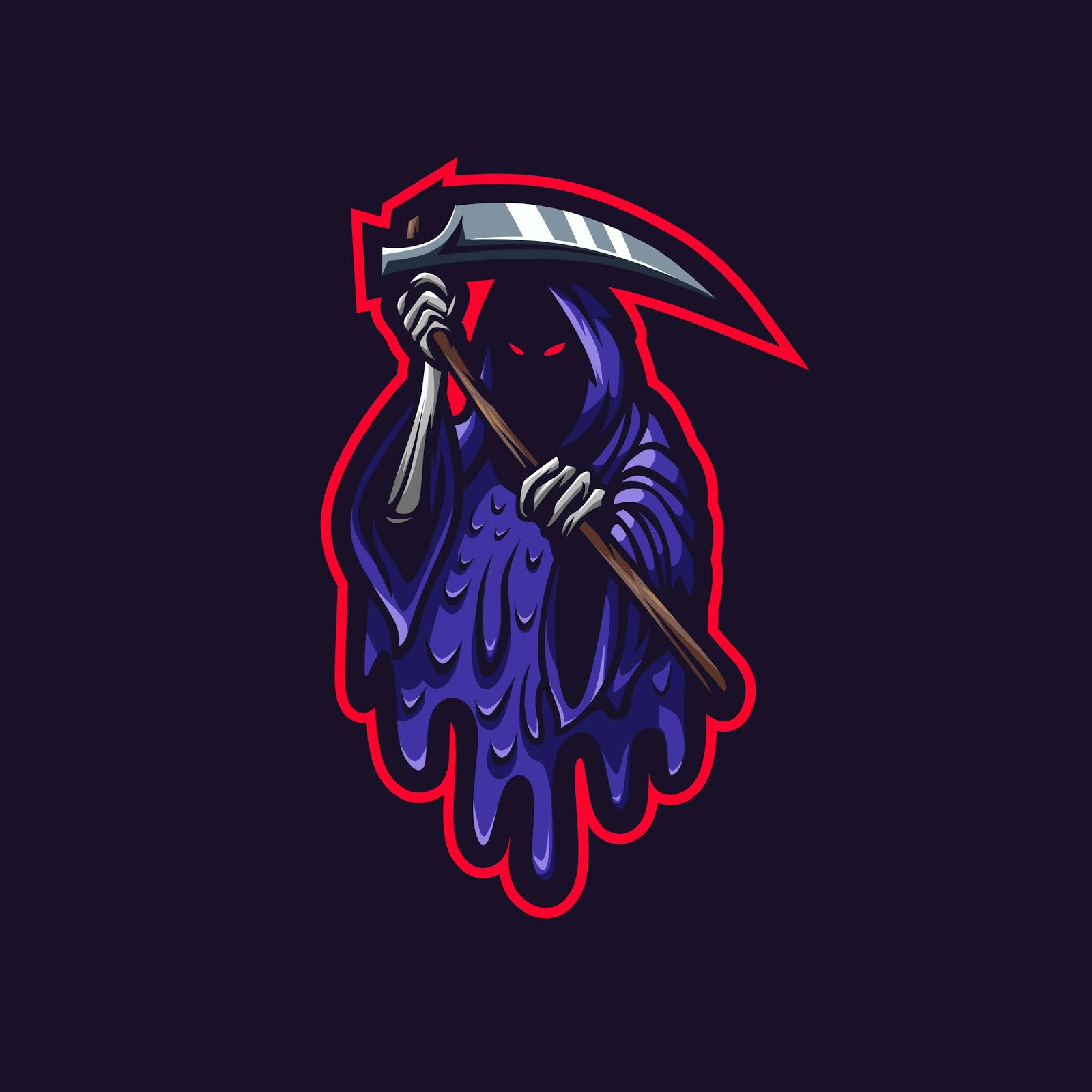 Reaper Esport Logo Grime Style Free Download Vector CDR, AI, EPS and PNG Formats