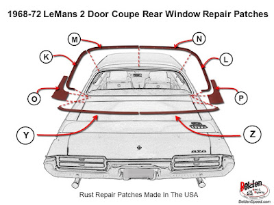 rear window rust repair,window channel patch panels,Chevelle,Monte Carlo,GTO,LeMans,Tempest,Cutlass,Camaro,Firebird,Beldenspeed,Belden Speed & Engineering,F Body,A Body,Skylark,Nova,El Camino,Grand Prix,windshield channel,Second Gen,Gen 2,trim clip studs,trunk gutter rust,trunk gutter repair patch, glass setting supplies, trunk gutter channel