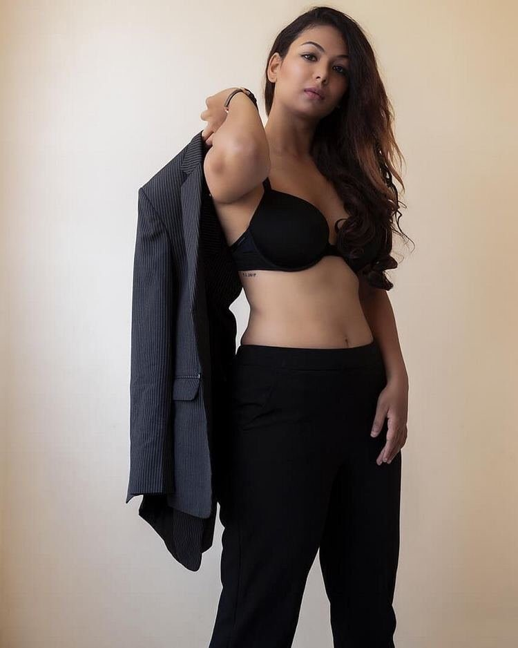 Aditi Myakal Hot photoshoot in black Navel Queens