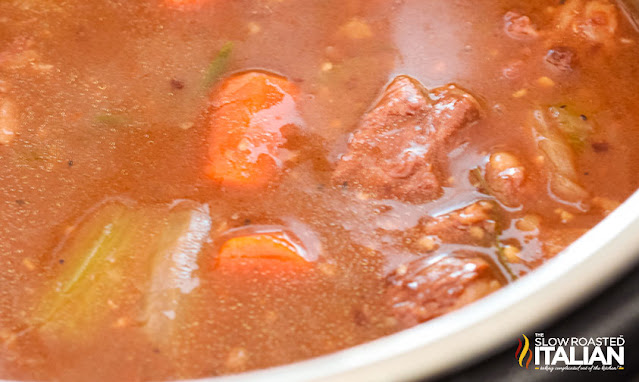 pressure cooker beef stew close up on the soup