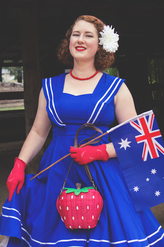 Red ~ White ~ Blue with Daisy Jean Floral Designs, Collectif Strawberry Wicker Bag, Vintage Gloves   Lavender & Twill
