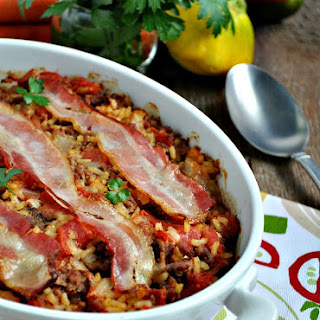 Aunt Bee's Bacon-Topped Beef and Rice Casserole.
