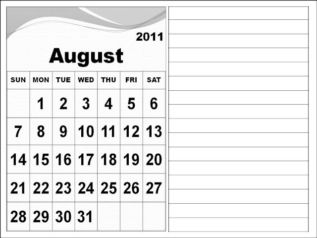 august calendar 2011. Calendar 2011 August with