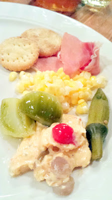 Mae PDX Pickle Platter for November 25, 2015: Pimento cheese & Benton's 16 month aged country ham, Green Tomatoes, Sour Corn (in a sauerkraut style), Okra