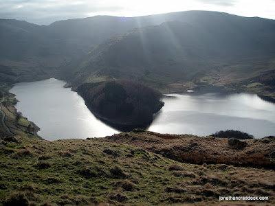 Looking across Haweswater to High Street, from Old Corpse Road