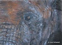 """""""Element - Erde: Elefantenauge"""", Ölpastell auf Papier, 48x36, 2003"""