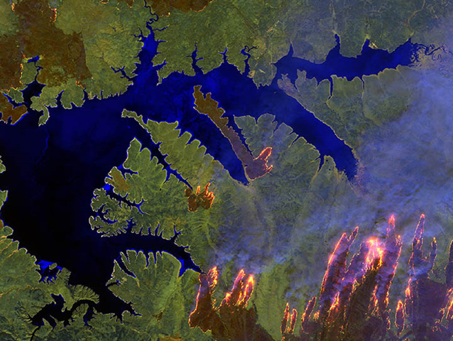 Infrared satellite view of forest fires near the Zeya Reservoir in the Amur region of Siberia, 9 May 2018. Photo: The Weather Channel