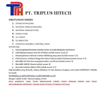 7 Loker di PT Triplus Hitech