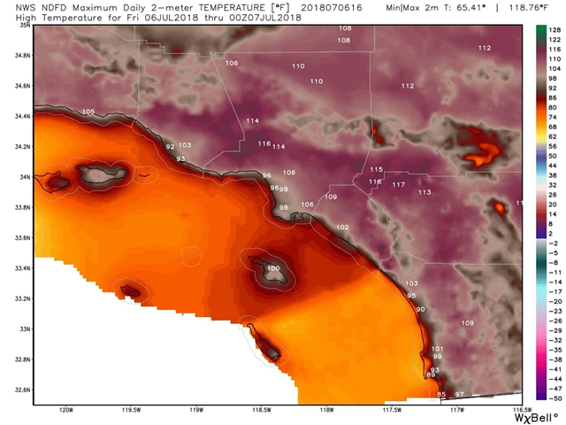 Forecast of high temperatures from the National Weather Service around Los Angeles, on Friday, 6 July 2018. Graphic: WeatherBell.com