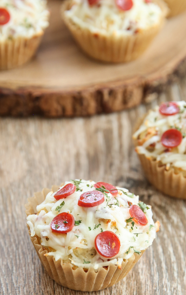 photo of one pizza cupcake with one behind it