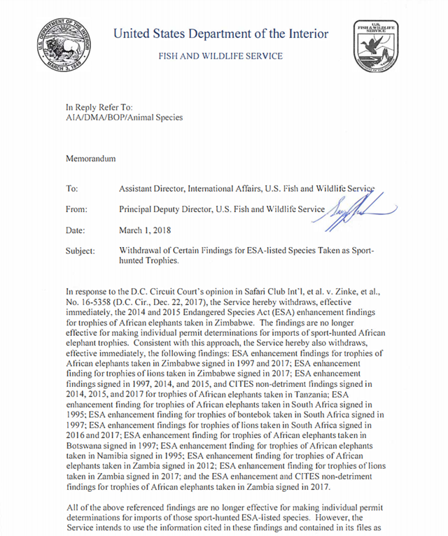 U.S. Fish and Wildlife Service letter, dated 1 March 2018, announcing that the importation of elephant trophies will now be approved on a 'case-by-case basis'. Graphic: U.S. Fish and Wildlife Service