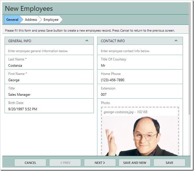 Sample New Employee wizard.