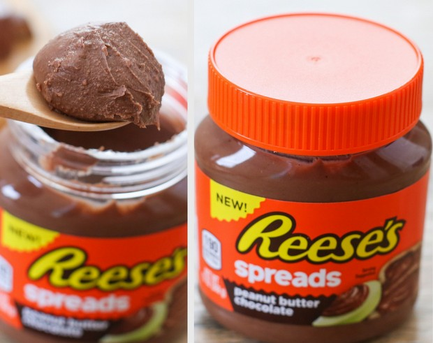 photo collage of a jar of reese's soread and a scoop of the spread