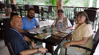 "July 5, 2017 - Dinner meeting at Hacienda Muñoz in San Lorenzo, PR with ARRL Puerto Rico Section Manager Oscar Resto, KP4RF, Asst. Section Manager Jose ""Otis"" Vicens, NP4G, Sacramento Valley Asst. Section Manager Roger Cain, KI6FYF, and SV Section Manager Carol Milazzo, KP4MD."
