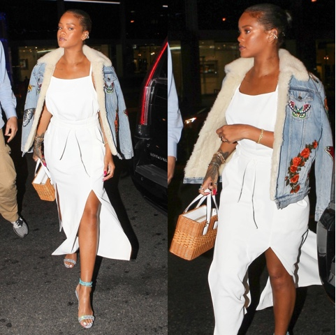Rihanna wears Spring 2016 Adam Selman and RIH VI'S Manolo Sandals