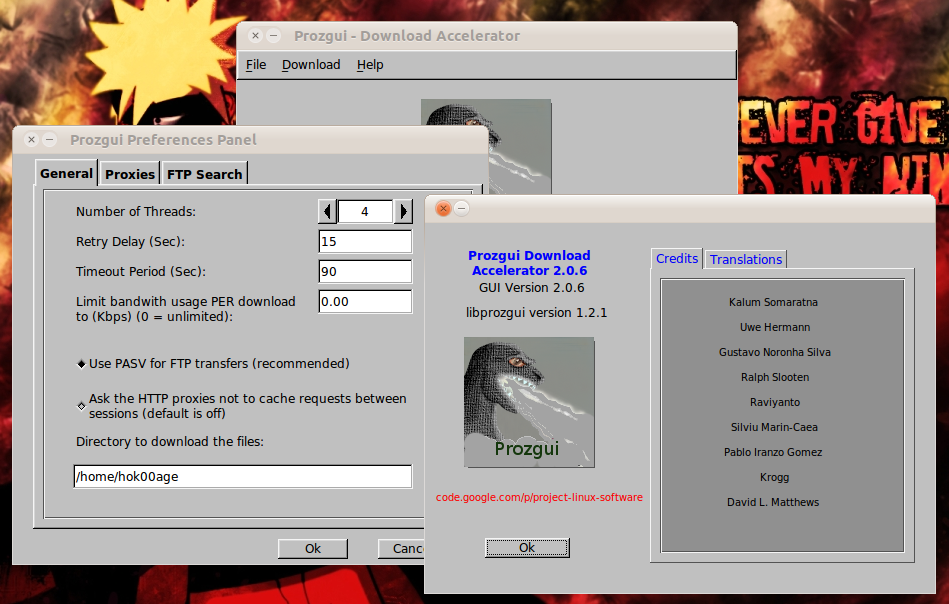 ProzGUI: Tampilan GUI untuk ProZilla