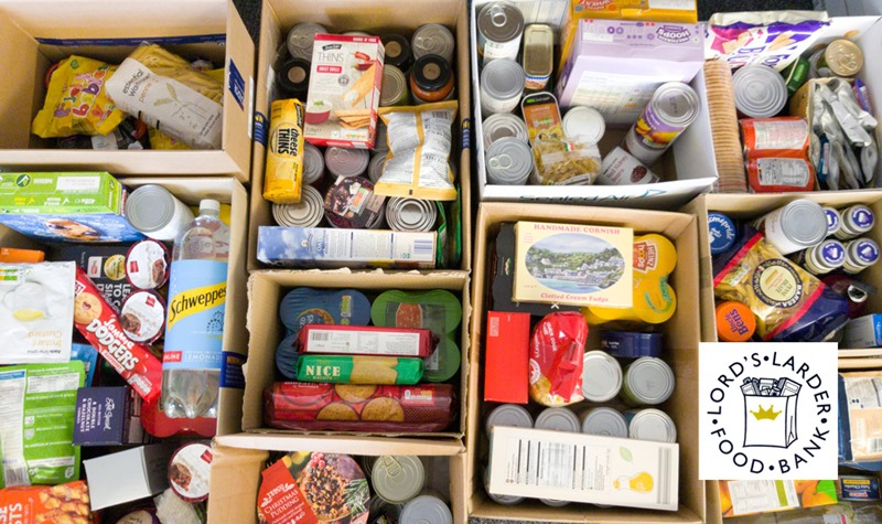 Boxes of food donated by Garador staff to Lord's Larder