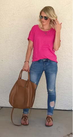 Thrifty Wife, Happy Life || Bright pink shirt with distressed jeans and congac accessories
