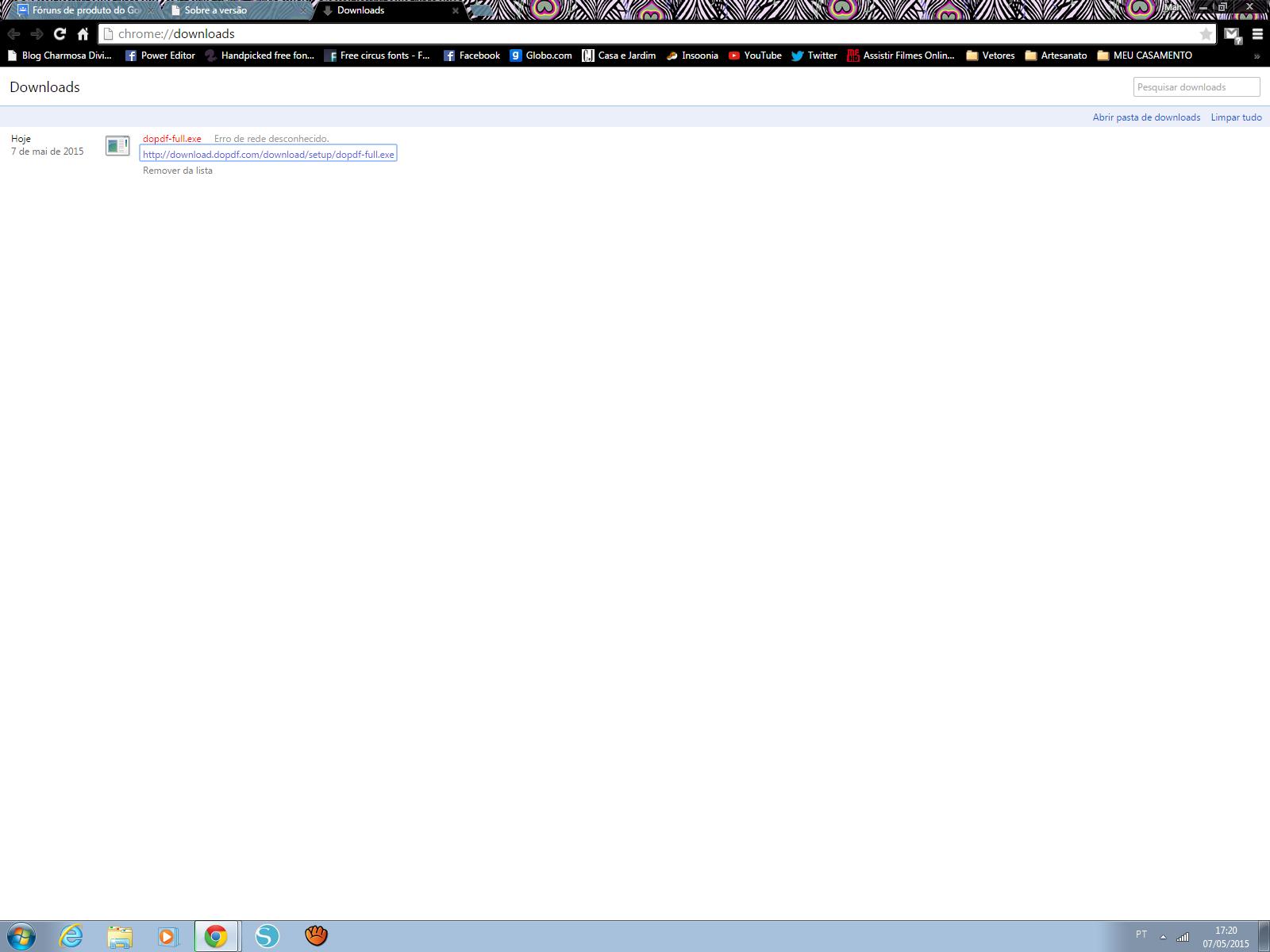 erro de rede desconhecido google chrome