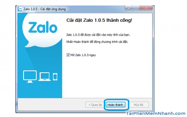 hoàn tất cài đặt Zalo