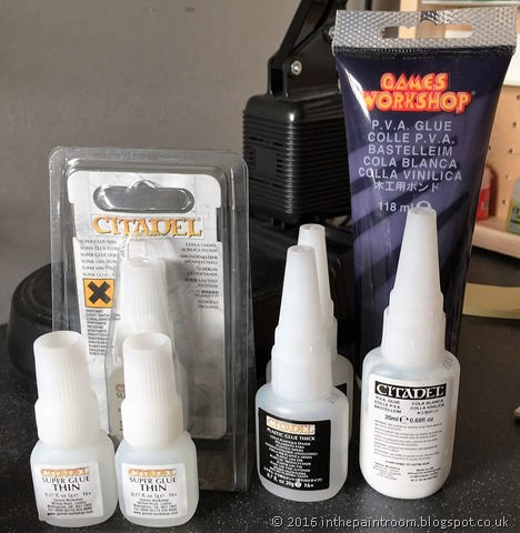 Citadel and Games Workshop Superglue, plastic glue and PVA