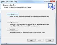NSClient++ Setup - Setup Type
