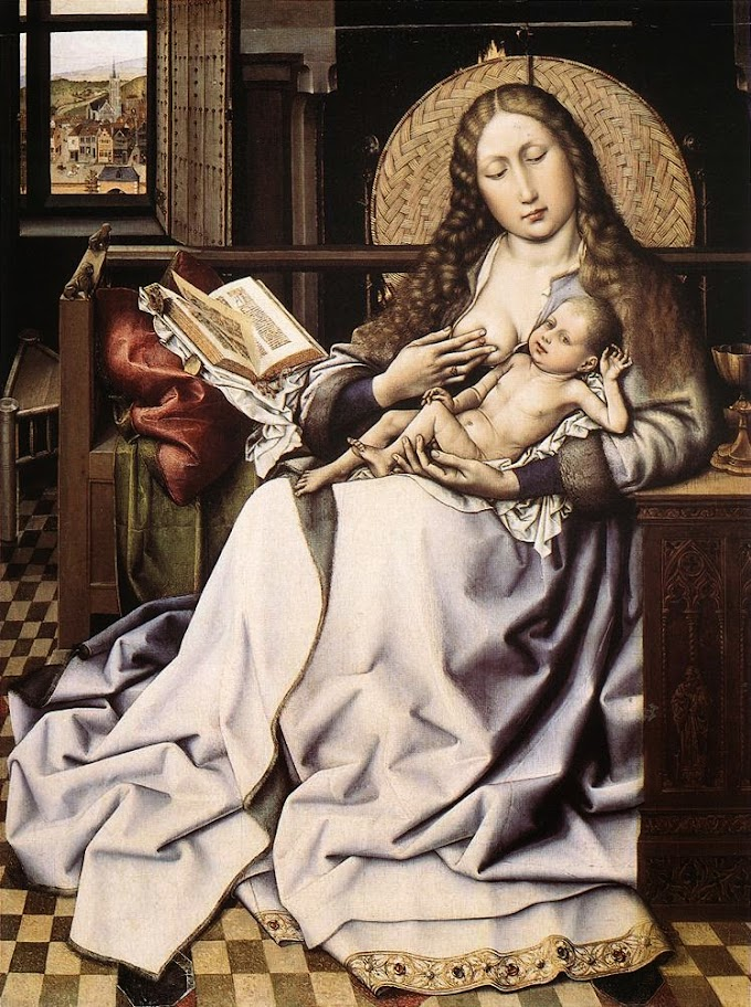 Robert Campin - The Virgin and Child before a Firescreen