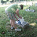 Joyce cleans tombstones with baby oil. Idea handed down from her Granny Edith Elizabeth Gleaves