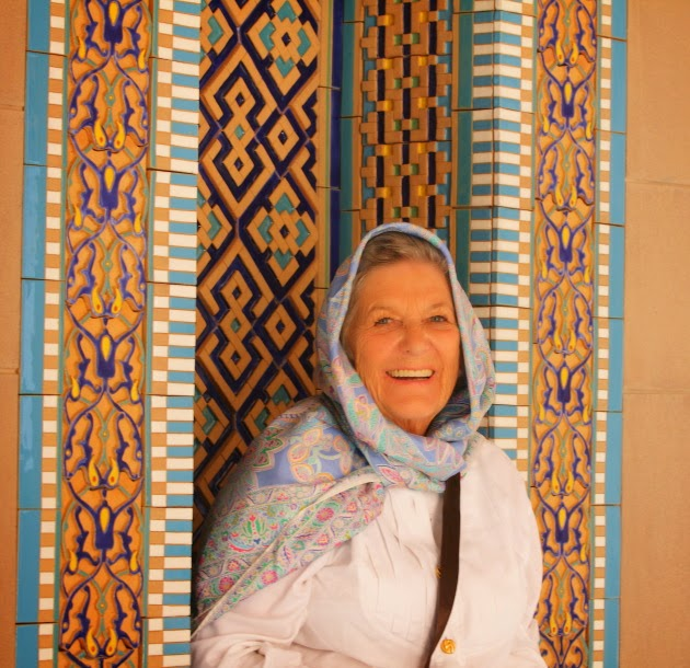 Smiling Tourist at Sultan Qaboos Grand Mosque, Muscat, Oman